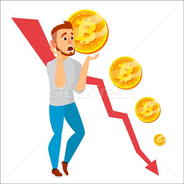 Bitcoin Crash Graph Vector. Bitcoin Price Drops. Price Market Value Going Down. Crypto Currency Mark Stock photo © pikepicture