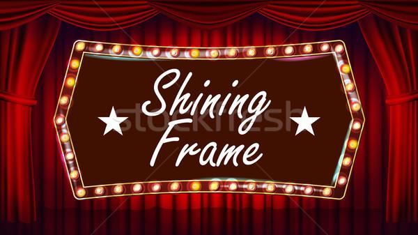 Azul teatro cortina ouro quadro vetor Foto stock © pikepicture