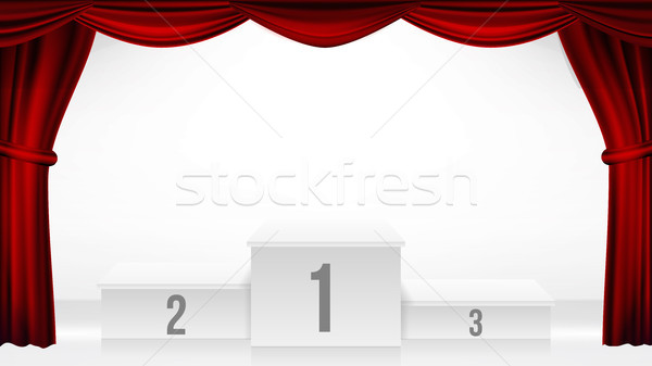 Winners Podium, Theater Curtain Vector. Awards Ceremony Pedestal. White Stage. Empty Platform. Troph Stock photo © pikepicture