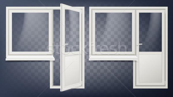 Plastic Door Vector. Home Interior Door And Window. Opened And Closed. Plastic Glass Door. Energy Sa Stock photo © pikepicture