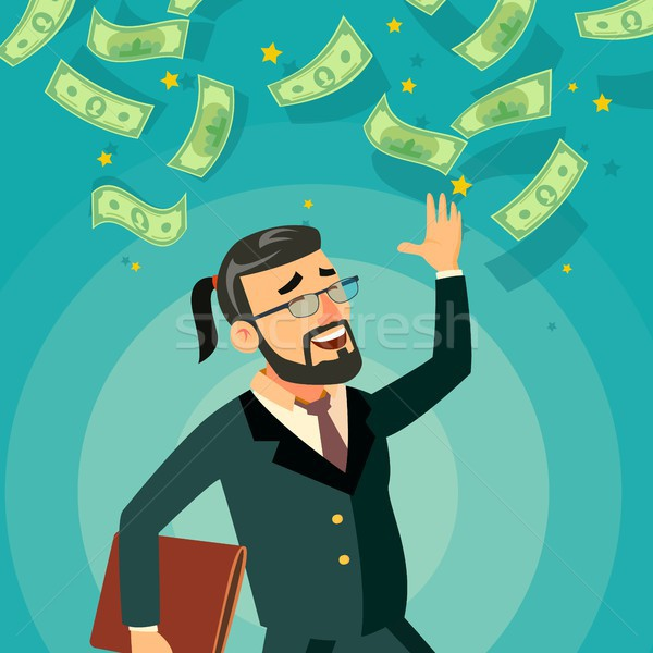 Happy Businessman Vector. Falling Money. Cash Rain. Bills Incomes. Celebrating Success. Flat Cartoon Stock photo © pikepicture