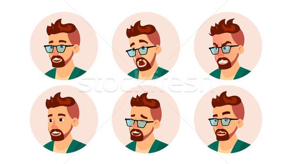 Hipszter férfi avatar vektor kreatív modern Stock fotó © pikepicture