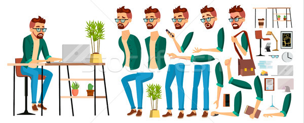 Business Man Worker Character Vector. Hipster Working Male. Office Worker. Animation Set. Clerk, Sal Stock photo © pikepicture