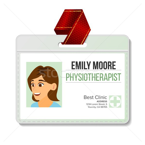 Physiotherapist Identification Badge Vector. Woman. Id Card Blank. Clinic. Hospital. Specialist Pers Stock photo © pikepicture