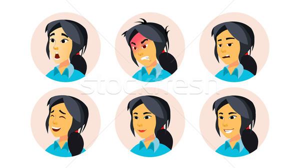Avatar ikon nő vektor felhasználó személy Stock fotó © pikepicture