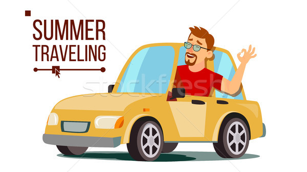 Man Travelling By Car Vector. Boy In Summer Vacation. Rides In The Car. Road Trip. Isolated Flat Car Stock photo © pikepicture