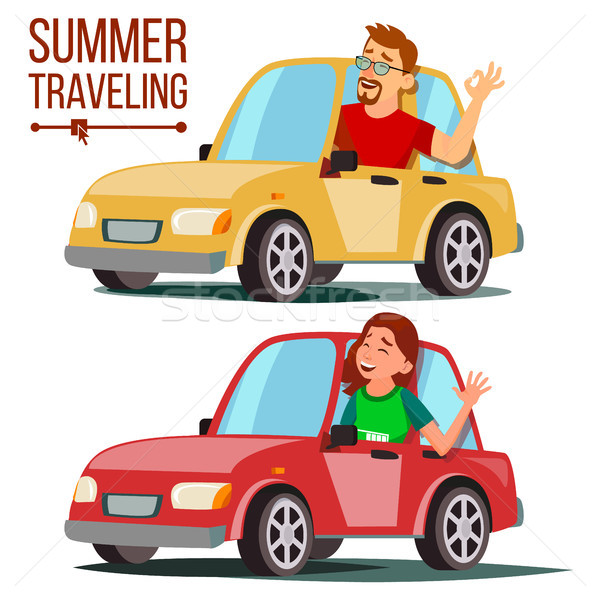 Summer Travelling By Car Vector. Male, Female. Girl And Boy In Summer Vacation. Driving Machine. Rid Stock photo © pikepicture