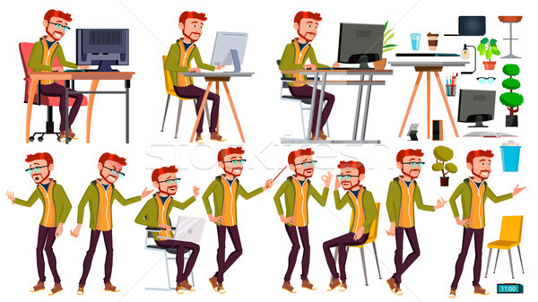 Office Worker Vector. Poses. Face Emotions, Various Gestures. Red Head, Ginger. Adult Entrepreneur B Stock photo © pikepicture