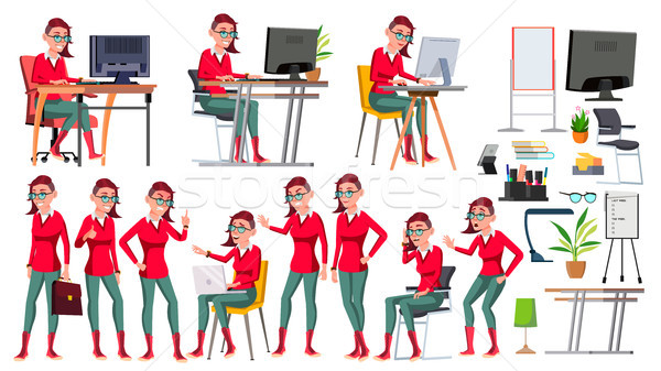 Office Worker Vector. Woman. Successful Officer, Clerk, Servant. Emo Hairstyle. Poses. Business Woma Stock photo © pikepicture
