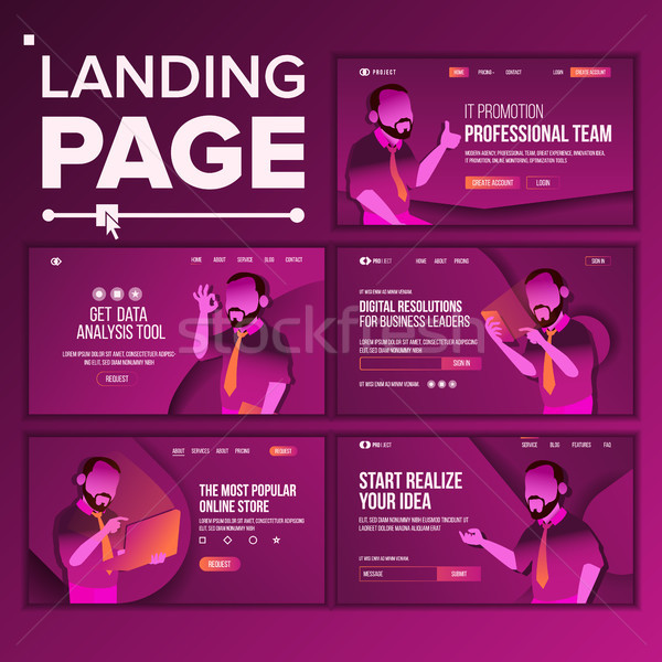 Modern Landing Page Concept Vector. Store. Shop Online. Creative Idea. Business Coworking. Office In Stock photo © pikepicture
