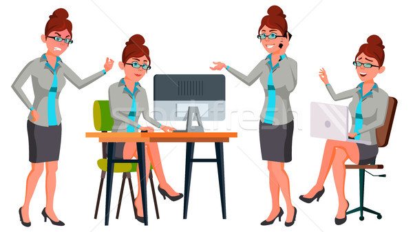 Office Worker Vector. Woman. Secretary, Accountant. Successful Officer, Clerk, Servant. Adult Busine Stock photo © pikepicture