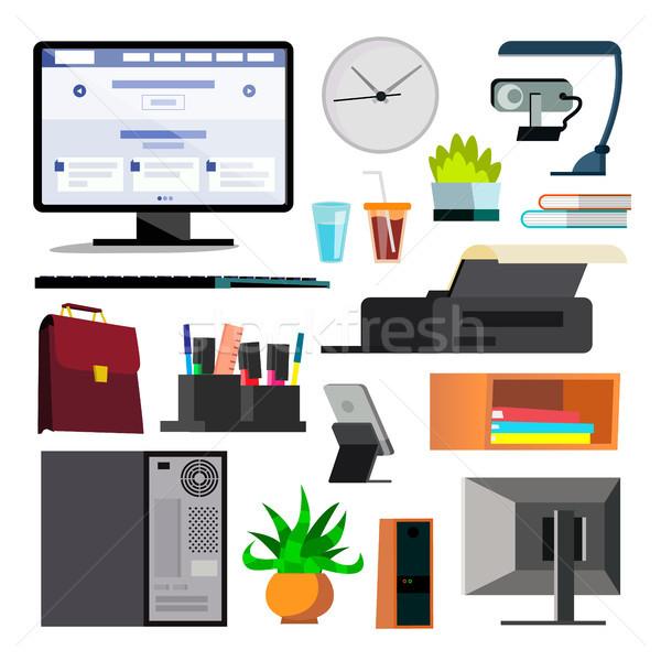 Zdjęcia stock: Sprzęt · biurowy · zestaw · wektora · klawiatury · elektroniki · cyfrowe