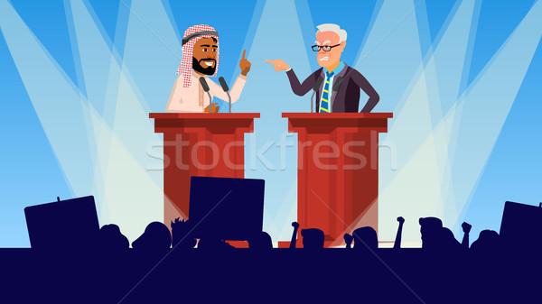 Siyasi toplantı vektör hoparlörler izleyici seçim Stok fotoğraf © pikepicture
