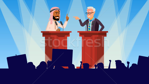 Politiek vergadering vector sprekers publiek verkiezing Stockfoto © pikepicture