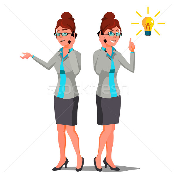 Solution Concept Vector. Business Woman. Conceptual Problem. Secret Discovery. Successful Launch Of  Stock photo © pikepicture