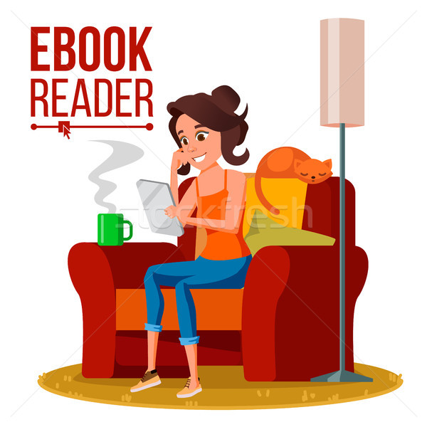 E-Book Reader Vector. Girl. Online Library. Using Ebook. Electronic Gadget. Isolated Flat Cartoon Il Stock photo © pikepicture
