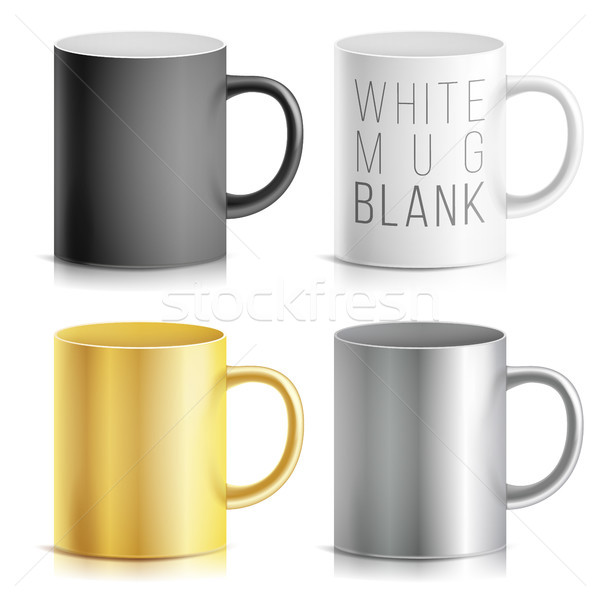 Realistic Cup, Mug Set Vector. White, Black, Silver, Chrome, Golden Cup Isolated On White Background Stock photo © pikepicture