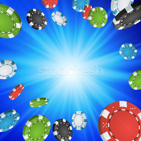 Online Casino Winner Background. Explosion Poker Chips Illustration. Cash Winning Prize Money Concep Stock photo © pikepicture