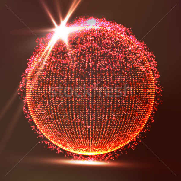 Dots Array And Lines. Vector Illustration. Big Data Visualization Abstract Vector Background. Stock photo © pikepicture