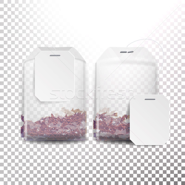 Realistic Tea Bag Mock Up With Empty White Label. 3D Realistic. Transparency Background Stock photo © pikepicture