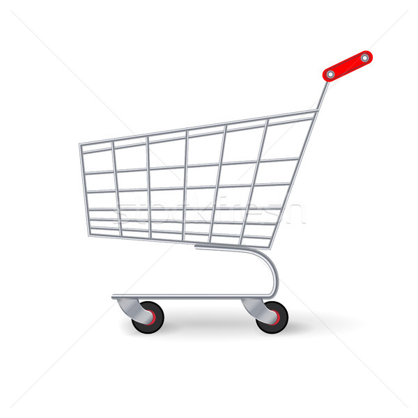 Supermarket Shopping Cart Vector. Empty Classic Chrome Cart Trolley Or Basket Isolated Stock photo © pikepicture