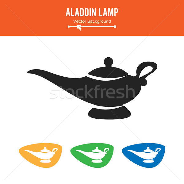 Aladdin Lamp Vector. Simple Black Silhouette Symbol Isolated On White Background. Stock photo © pikepicture