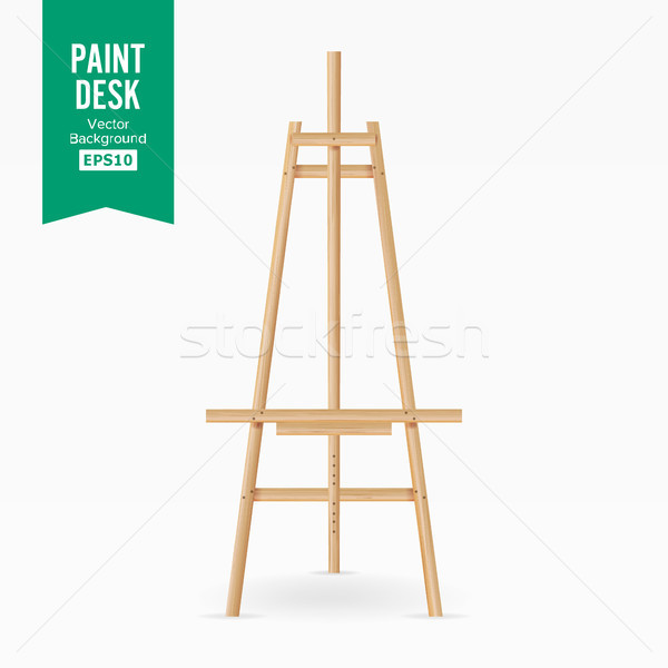 Paint Desk Vector. Wooden Easel With Empty White Paper. Isolated On White Background. Realistic Pain Stock photo © pikepicture