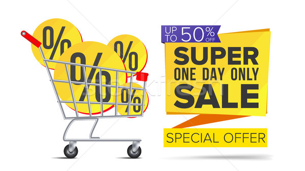 Shopping Cart With Big Sale Banner Vector. Up To 50 Percent Off. Sale Banner Tag. Price Labels. Isol Stock photo © pikepicture