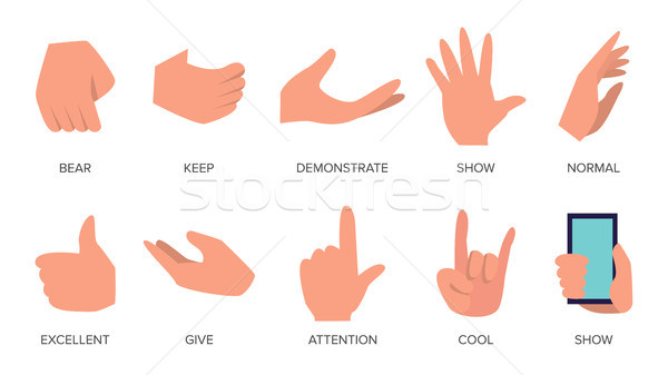 Gestures Set Vector. Hands In Different Emotions. Various Arm Gestures Signs. Flat Cartoon Isolated  Stock photo © pikepicture