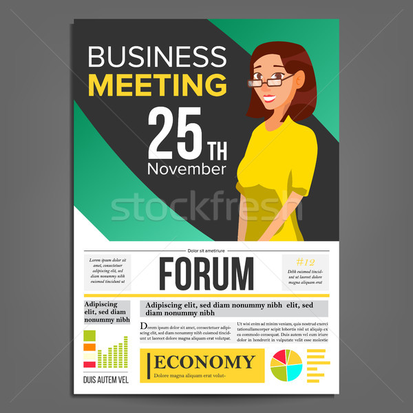 Business meeting poster vector business woman invitation and date add to lightbox download comp stopboris Images