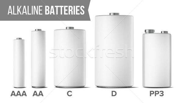 Alkaline Batteries Mock Up Set Vector. Different Types AAA, AA, C, D, PP3, 9 Volt. Classic Modern Re Stock photo © pikepicture