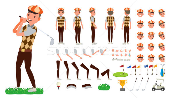 Golf Player Vector. Animated Character Creation Set. Football Tools And Equipment. Full Length, Fron Stock photo © pikepicture