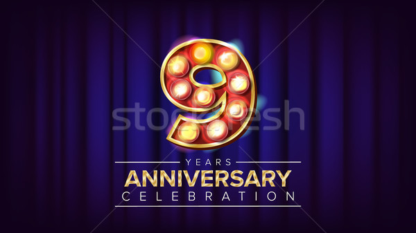 9 Years Anniversary Banner Vector. Nine, Ninth Celebration. Vintage Golden Illuminated Neon Light Nu Stock photo © pikepicture