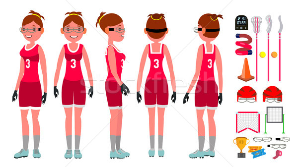 Women s lacrosse Vector. Lacrosse Practice. Teammates. Aggressive Women s player. Isolated Flat Cart Stock photo © pikepicture