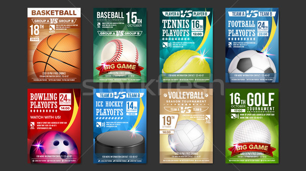 Stock photo: Sport Posters Set Vector. Golf, Baseball, Ice Hockey, Bowling, Basketball, Tennis, Soccer. Design Fo