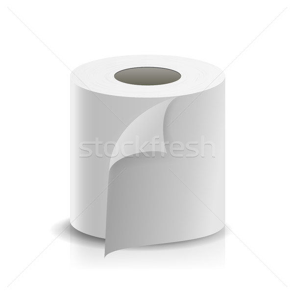 Realistic Paper Roll Vector. Template Blank White Toilet Paper roll Mock Up. Cash Register Tape, The Stock photo © pikepicture