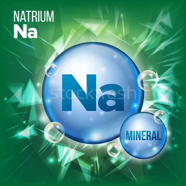 Na Natrium Vector. Mineral Blue Pill Icon. Vitamin Capsule Pill Icon. Substance For Beauty, Cosmetic Stock photo © pikepicture