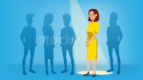 Woman Stand Out From The Crowd Vector. Job And Staff, Human And Recruitment. Business Success. Good  Stock photo © pikepicture