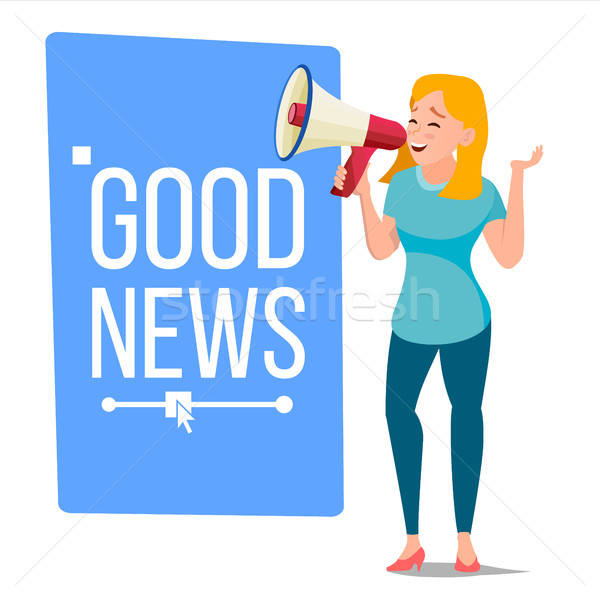 Business Woman Announce Concept Vector. Screaming Announcement Banner Design. Man With Megaphone. Gr Stock photo © pikepicture