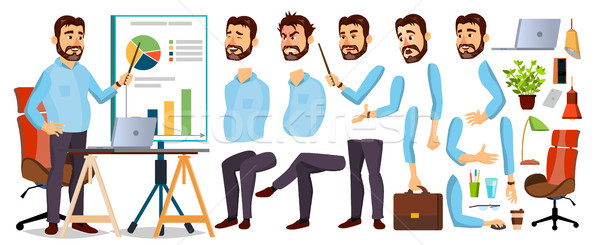 Boss Business Man Character Vector. Working Bearded CEO Male. Start Up. Modern Office Workplace. Chi Stock photo © pikepicture