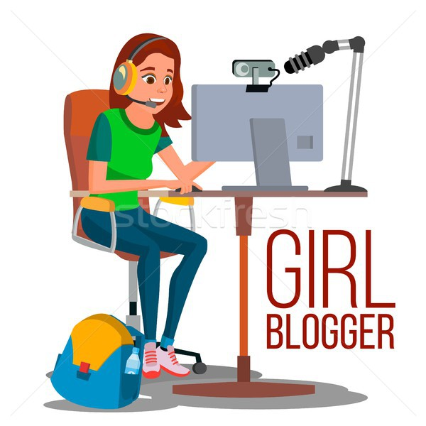 Kız blogger vektör video oynamak Stok fotoğraf © pikepicture