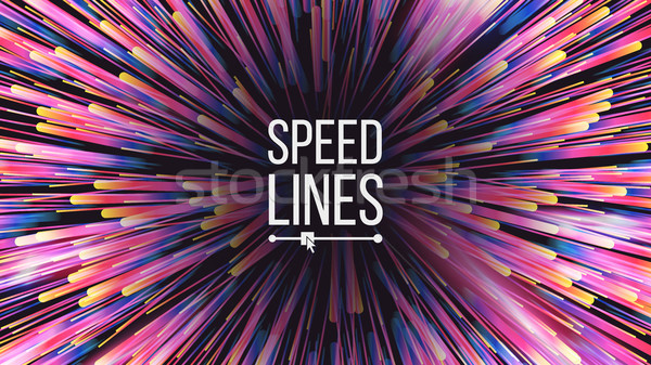 Speed Lines Vector. Starburst Effect. Burst Background. Glowing Rays Colorful Lines. Illustration Stock photo © pikepicture