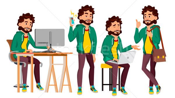 Irodai dolgozó vektor arc érzelmek különböző gesztusok Stock fotó © pikepicture