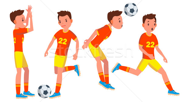 Stock photo: Soccer Male Player Vector. Playing In Different Poses. Summer Activity. Pass. Ball. Man Athlete. Iso