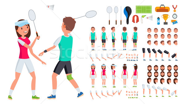 Badminton Player Male, Female Vector. Animated Character Creation Set. Man, Woman Full Length, Front Stock photo © pikepicture