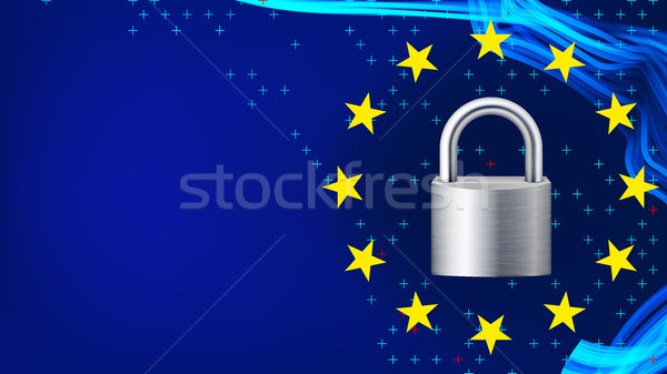 GDPR Background Vector. Padlock. Protection Of Personal Data. Stars. Security Web Banner. Illustrati Stock photo © pikepicture