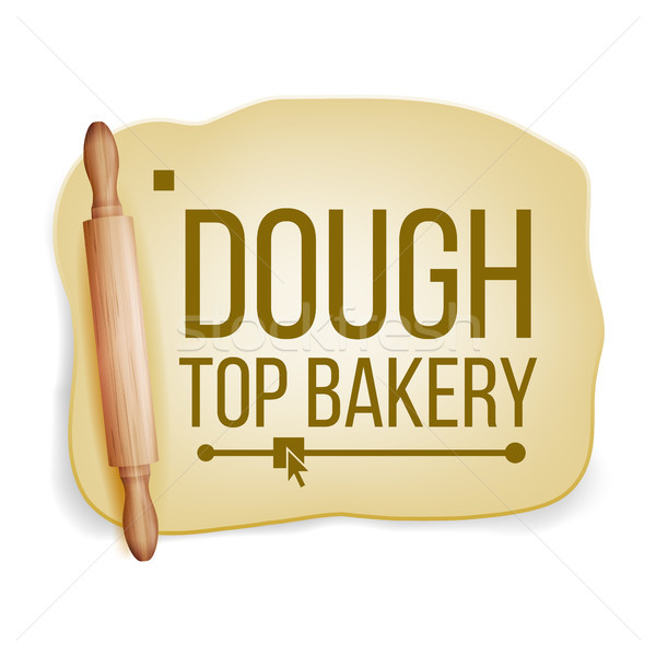 Dough Vector. Wooden Rolling Pin. Fresh Raw. Tasty. Design Element. Realistic Isolated Illustration Stock photo © pikepicture