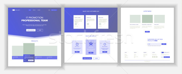 Website Page Vector. Business Website. Web Page. Landing Design Template. Processes And Office Situa Stock photo © pikepicture