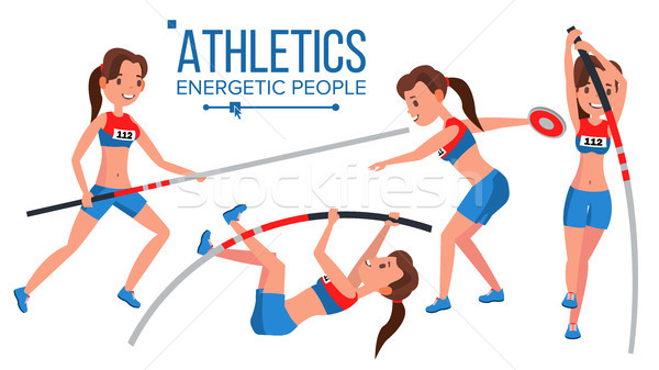 Athletics Female Player Vector. Win Concept. Various. Race Competition. Hurdle long Jump. In Action. Stock photo © pikepicture