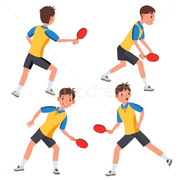 Table Tennis Male Player Vector. In Action. Twists The Ball. Ping Pong. Cartoon Character Illustrati Stock photo © pikepicture